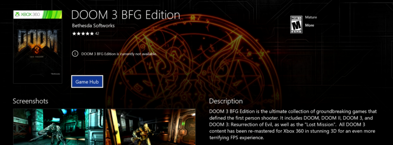 DOOM 3 BFG Edition added to the Xbox One Store, no pricing yet.