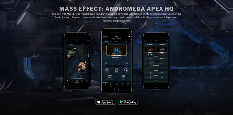 Mass Effect: Andromeda's companion app APEX HQ launches in limited markets today, worldwide March 20