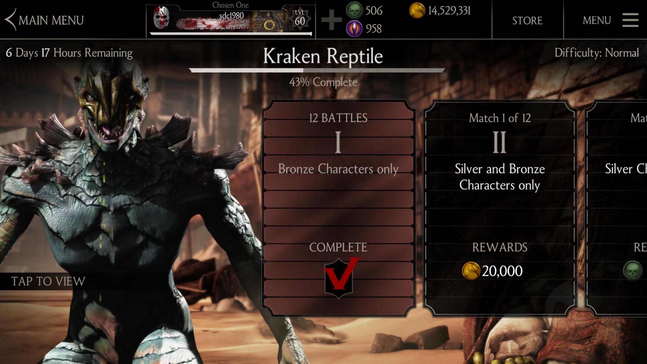 Mortal Kombat X mobile Challenge (12/13/18): Kraken Reptile
